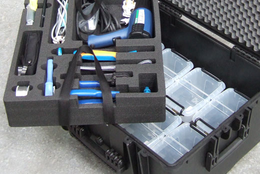 Custom foam insert with handles as the top layer of an Explorer case