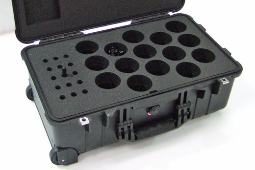 Custom Peli sample case with wheels