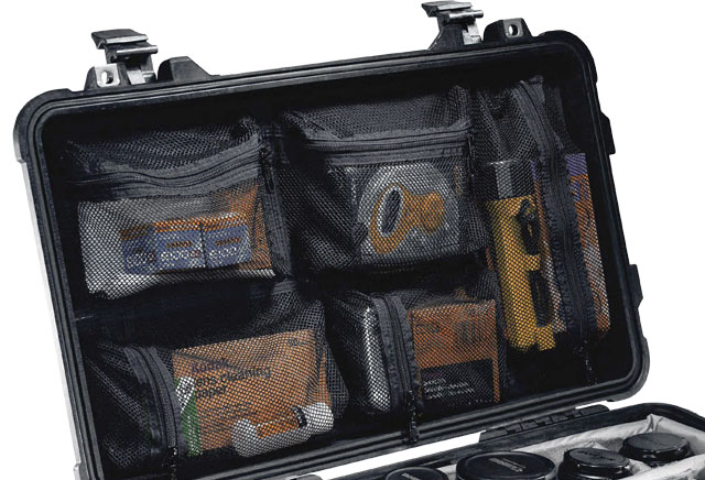 Lid organiser for Peli case