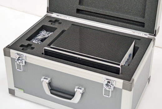 A Satin Case with custom foam protecting equipment