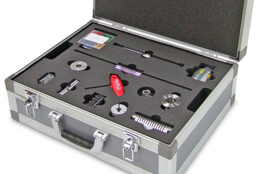 Satin Case with custom foam insert protecting various tools and parts
