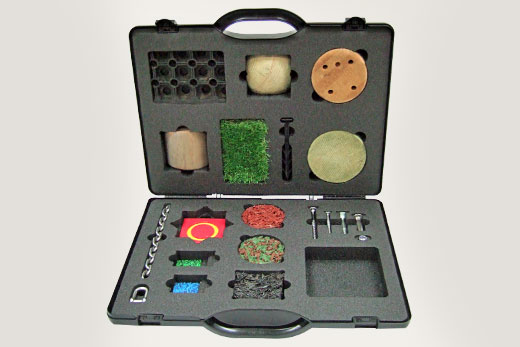 Plastic SPI case with custom foam holding product samples