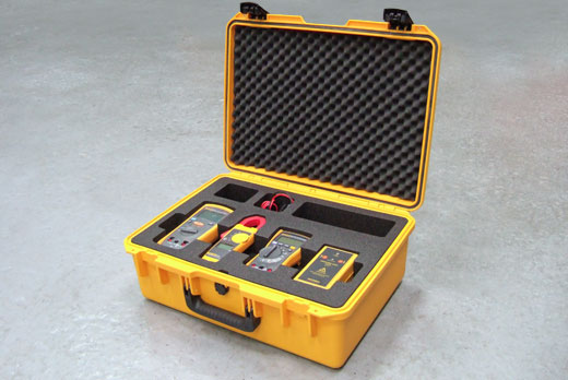 Waterproof Peli Storm case with custom foam holding measurement appliances
