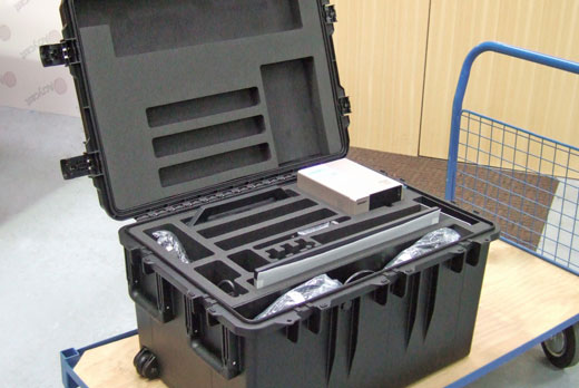 A deep Peli Storm case with custom foam