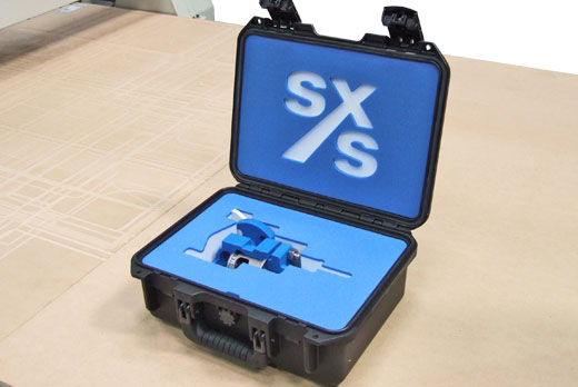 Compact Peli Storm case with custom foam to store equipment