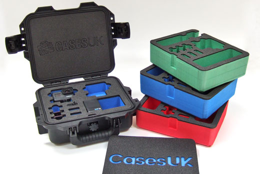 Coloured foam inserts alongside a Peli Storm case