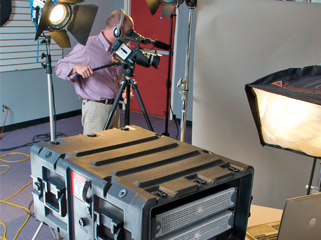 A Blackbox Peli rack mount case used for broadcast