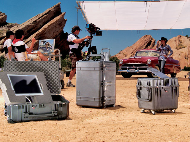 Peli cases used during film production
